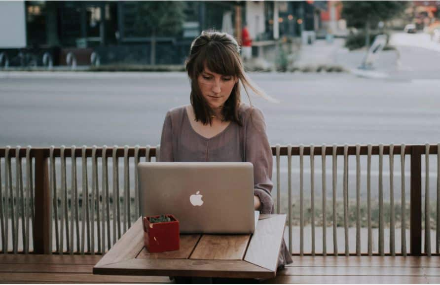 woman working as an online writer