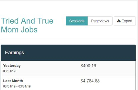 screenshot of blog earnings
