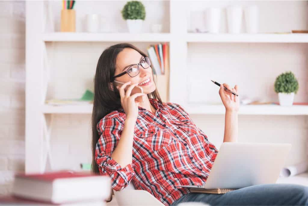 woman working as a virtual assistant