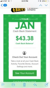 screenshot of saving on Ebates