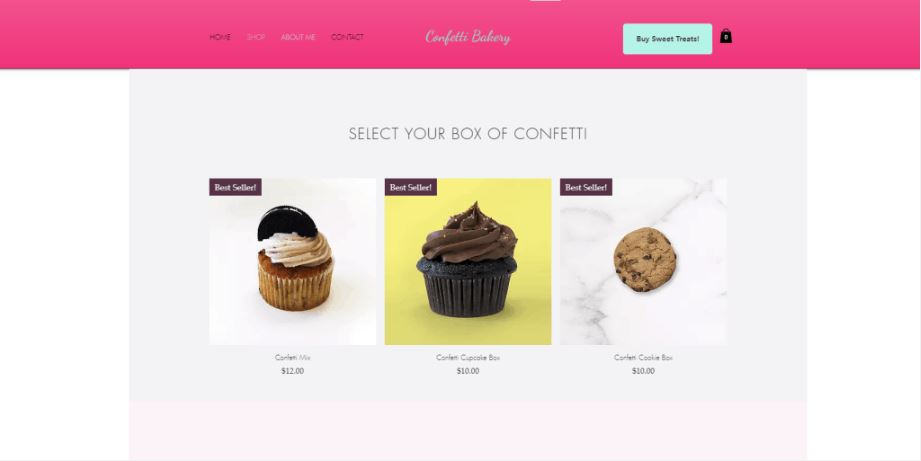 website screenshot of cupcakes